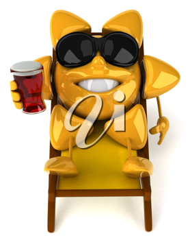 Royalty Free Clipart Image of a Sun in Sunglasses Holding a Drink Lounging in a Chair