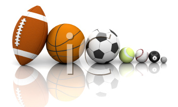 Royalty Free Clipart Image of Assorted Sports Balls