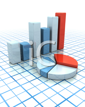 Royalty Free Clipart Image of a Pie Chart and Bar Graph