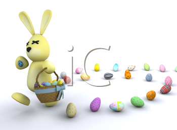Royalty Free Clipart Image of an Easter Bunny With Easter Eggs