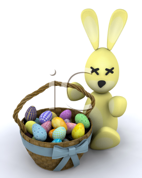 Royalty Free Clipart Image of an Easter Bunny With a Basket of Eggs