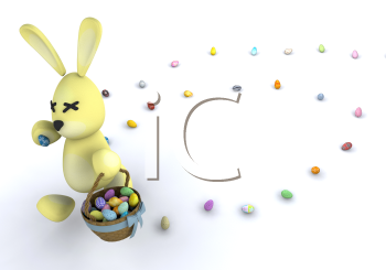 Royalty Free Clipart Image of an Easter Bunny Leaving a Trail of Eggs