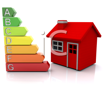 Royalty Free Clipart Image of a Red House With Energy Ratings