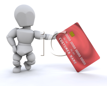 Royalty Free Clipart Image of a Person With a Credit Card