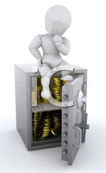Royalty Free Clipart Image of a Safe Full of Gold Coins