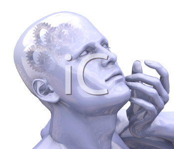 Royalty Free Clipart Image of a Person With Gears in His Head