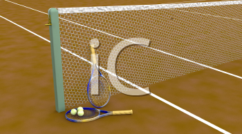 Royalty Free Clipart Image of a Tennis Court