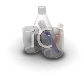 Royalty Free Clipart Image of Test Tubes and Flasks