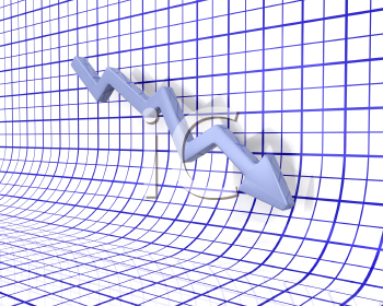 Royalty Free 3D Render of a Chart Showing Falling Profits