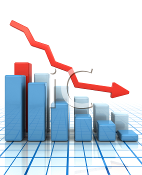 Royalty Free Clipart Image of a Bar Chart Showing Falling Profits
