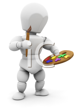 Royalty Free Clipart Image of an Artist With a Paintbrush