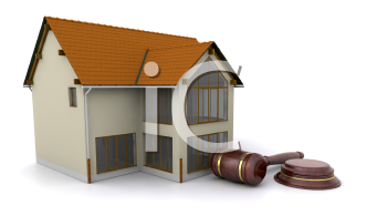 Royalty Free Clipart Image of a House and Gavel