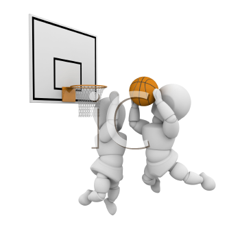 Royalty Free Clipart Image of Two People Playing Basketball