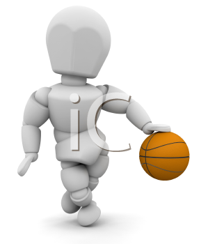 Royalty Free Clipart Image of a Person Dribbling a Basketball