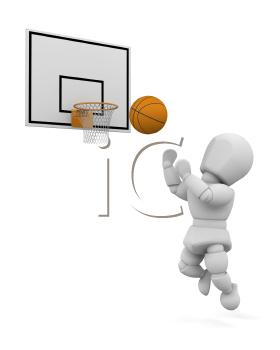 Royalty Free Clipart Image of a Basketball Player Making a Jump Shot