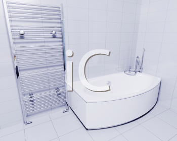 Royalty Free Clipart Image of a Bathroom Interior