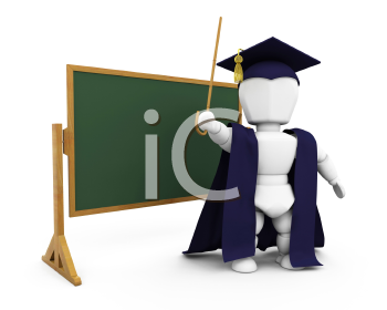 Royalty Free Clipart Image of a Teacher By a Chalkboard