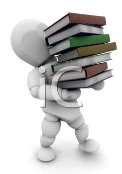 Royalty Free Clipart Image of a Guy Carrying Books