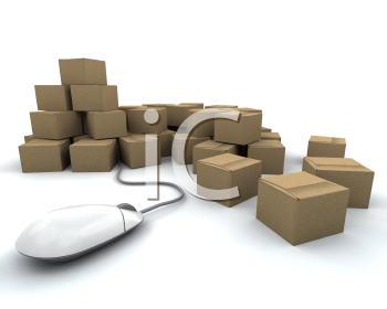 Royalty Free Clipart Image of a Stack of Boxes