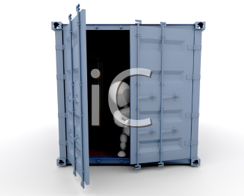 Royalty Free Clipart Image of an Open Freight Container and a Man Inside