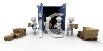 Royalty Free Clipart Image of People Unloading Boxes From a Storage Container