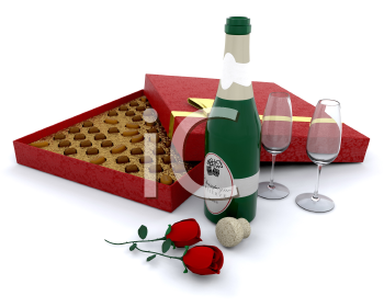 Royalty Free Clipart Image of Champagne and a Box of Chocolate