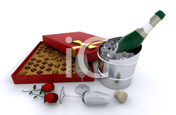 Royalty Free Clipart Image of Champagne, Roses and Candy
