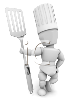 Royalty Free Clipart Image of a Chef With an Egg Lifter