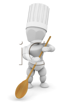 Royalty Free Clipart Image of a Chef With a Wooden Spoon