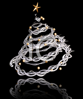 Royalty Free Clipart Image of a Twisted Metal Tree