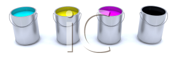 Royalty Free Clipart Image of CMYK Cans