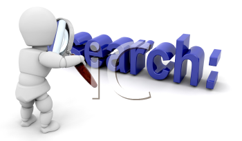 Royalty Free Clipart Image of a Guy Looking at the Word Search With a Magnifying Glass
