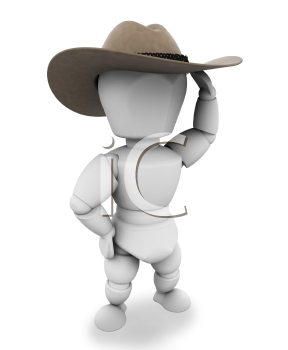 Royalty Free Clipart Image of a Cowboy With a Stetson Hat