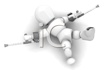 Royalty Free Clipart Image of a 3D Guy With Crutches and a Foot in a Cast