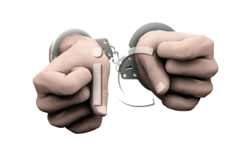 Royalty Free Clipart Image of Handcuffed Hands