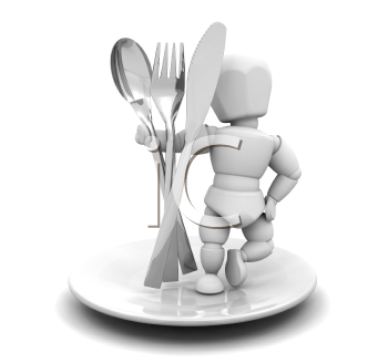 Royalty Free Clipart Image of a Person on a Plate With Cutlery