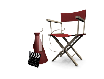 Royalty Free Clipart Image of a Director's Chair, Bullhorn and Clapper