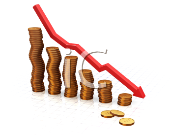 Royalty Free Clipart Image of a Chart Showing Falling Profits
