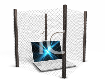 Royalty Free Clipart Image of a Computer in a Wire Fence