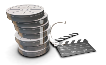 Royalty Free Clipart Image of a Stack of Film Reels and a Clapper Board