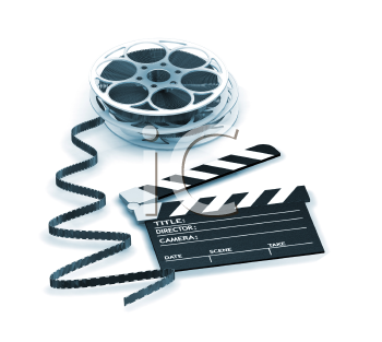 Royalty Free Clipart Image of Film Reels and a Clapper Board