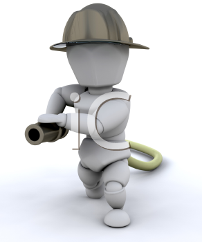 Royalty Free Clipart Image of a Firefighter