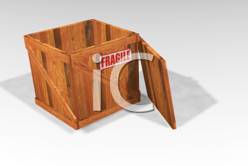 Royalty Free Clipart Image of an Open Wooden Crate With Fragile On It