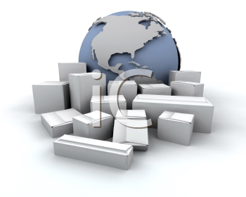 Royalty Free Clipart Image of a Globe With Packages Around It