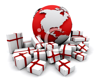 Royalty Free Clipart Image of a Stack of Gifts Around a Globe