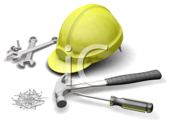 Royalty Free Clipart Image of a Hardhat and Screws
