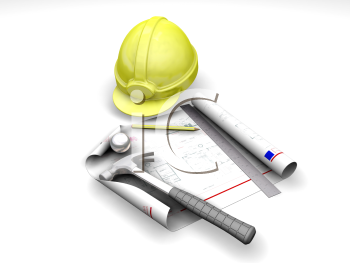 Royalty Free Clipart Image of a Hardhat and Tools