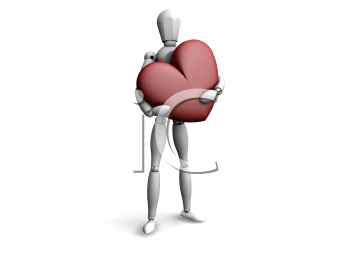 Royalty Free Clipart Image of a Guy With a Heart