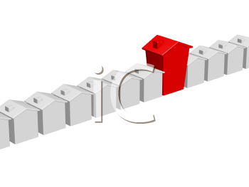 Royalty Free Clipart Image of One Large Red House Among Small White Ones