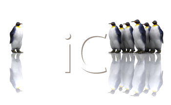 Royalty Free Clipart Image of a Group of Penguins With One in Front Looking Back